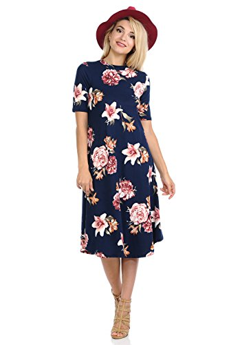 Floral Jersey Dress (iconic luxe Women's Mock Neck Trapeze Midi Dress Large Floral Navy Blush)