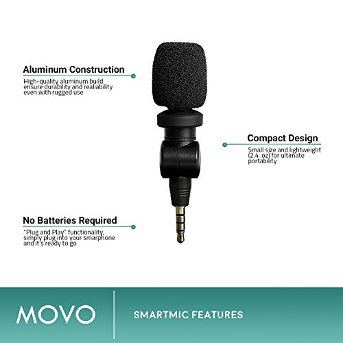 Saramonic SmartMic Microphone with Lightning Dongle Clip for iPhone 7, iPhone 7 Plus, iPhone 8, iPhone X, and other iOS Devices (Black)