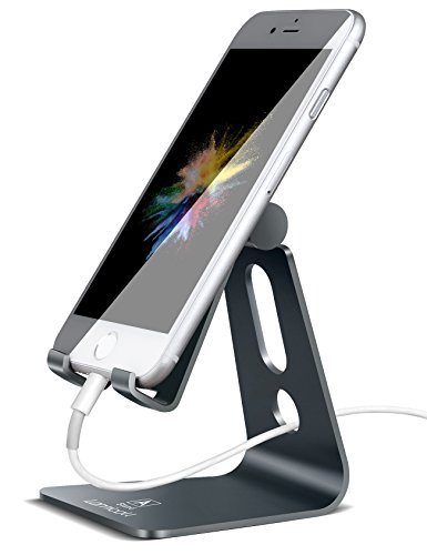 Adjustable Cell Phone Stand, Lamicall Phone Stand : [UPDATE VERSION] Cradle, Dock, Holder Compatible with iPhone Xs XR 8 X 7 6 6s Plus SE 5 5s 5c charging, Accessories Desk, Android Smartphone - Gray