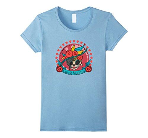[Womens Dia de Muertos Costume Plus Size - Day Of The Dead Shirt Gir Large Baby Blue] (Dia De Los Muertos Female Costumes)