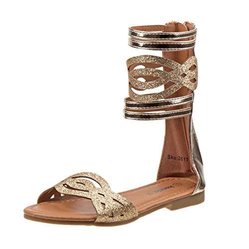 Kensie Girl Fashion Gladiator Sandals with Shiny Glitter Straps, Gold, Size 2 M US Little Kid'