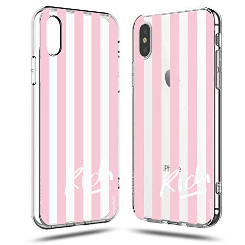 iPhone XR Case,Funny Cute Girls Women Pink Stripe Geometric Hipster Im Rich Life Girl Boss Power Quotes Saying Chic Simple Trendy Summer Kuso Soft Clear Case Compatible for iPhone XR ()