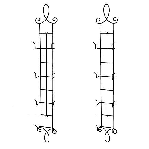(HOHIYA Plate Rack Wall Vertical Display Easel Holder Stand Metal 4 Tier 42inch(Black, Pack of 2))