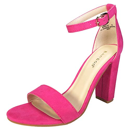 BAMBOO Women's Single Band Chunky Heel Sandal with Ankle Strap, Neon Pink Faux Suede, 7.5 B US