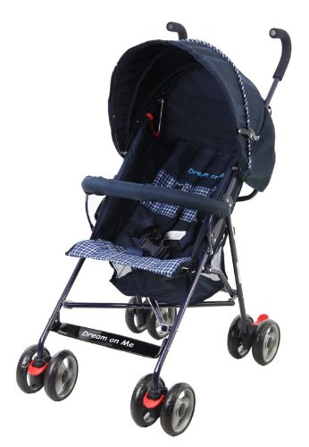 Dream On Me Single Stroller with Large Canopy, Navy