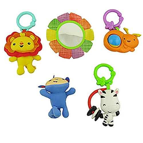 Replacement Toys for Fisher-Price Rainforest Friends Music and Lights Deluxe Gym DFP08 - Includes 5 Toys: Lion, Snail, Giraffe, Monkey and Mirror