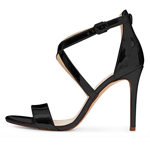 EDEFS Damen Knöchelriemchen Sandalen,Offene Zehen 10 CM Absatz Sommer Schuhe Schwarz