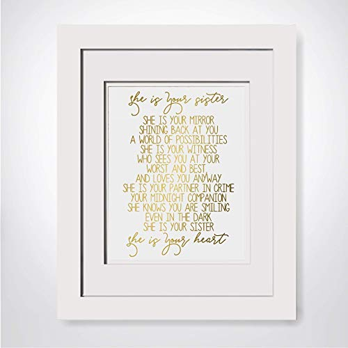 She Is Your Sister Poem Frame is Optional Gold Foil Print Gift