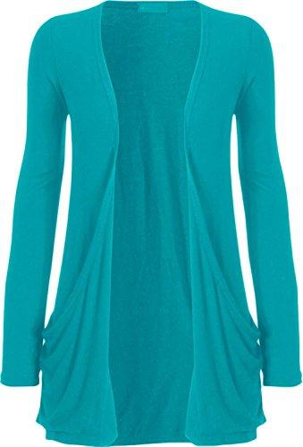 base Taille de Turquoise Grande ordinaire Nouveaux Femmes Cardigan 54 36 Top manches longues qwXREqYxZ