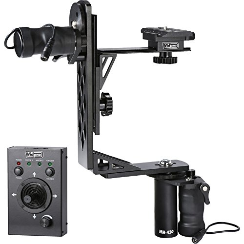 Vidpro MH-430 Professional Motorized Pan & Tilt Gimbal Head Includes: Heavy-Duty Gimbal Head, 2 Geared Motors, Joystick Control, Cables & Case (Head 0.5 Pan)