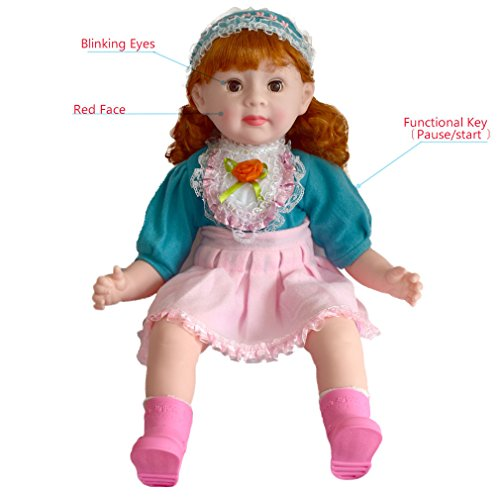 BQVIVYI Sweet Spoonfuls Baby Doll for American Girls, 20 inch Dolls for Age 3+, Blonde Hair,Smile Blink Eyes,Sing Songs,Tell Story,Language dialogue,Changeable Clothes (Alice ()