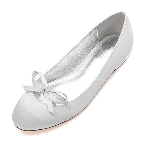 de La Zapatos Corte Boda Señoras del Nupcial 5049 L de Silver Talón Partido Las Para Boda Mujer 22 de YC Prom Zapatos Bowknot Satin wxHqCFU
