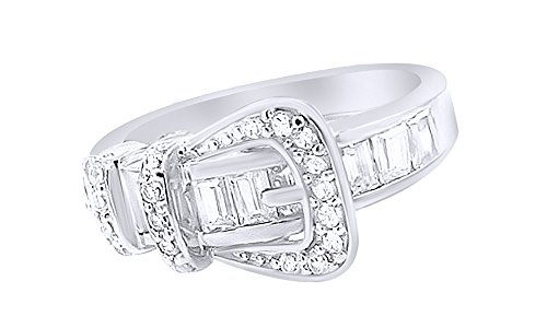 Buckle Fashion Ring (White Cubic Zirconia Belt Buckle Fashion Ring In 14k White Gold Over Sterling Silver)