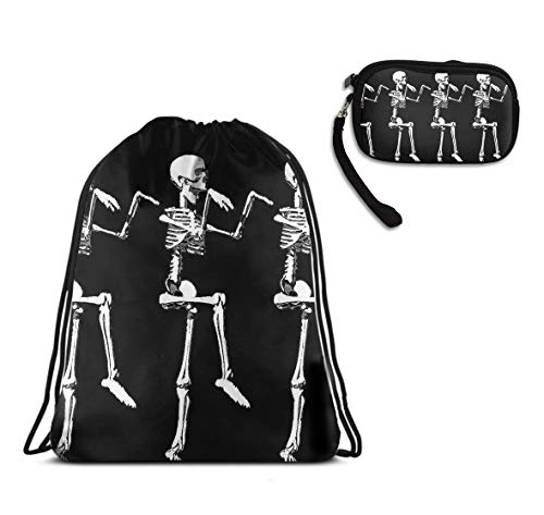 WONDERMAKE Fashion Unisex Drawstring Travel Backpack Double Shoulder Bag + Zipper Change Purse Coin Wallet Card Holder 2pcs Set Halloween Posable Skeleton Polyester Bags