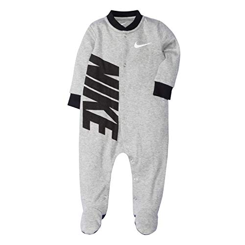 NIKE Children's Apparel Baby Graphic Logo Footed Coverall, Dark Grey Heather/Black, 9M (Infant Boy Nike Clothing)