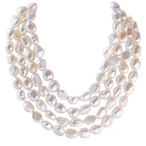 Pearl Necklace Double Strands Baroque (9-10mm Baroque Cultured Freshwater Pearl Necklace Strand Endless Palette Pure White 60