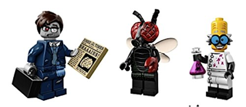 Fly Guy, Zombie Businessman, Mad Scientist : Lego Collectible Minifigures Series 14 Monsters, Zombies, Halloween Custom Bundle 71010 -