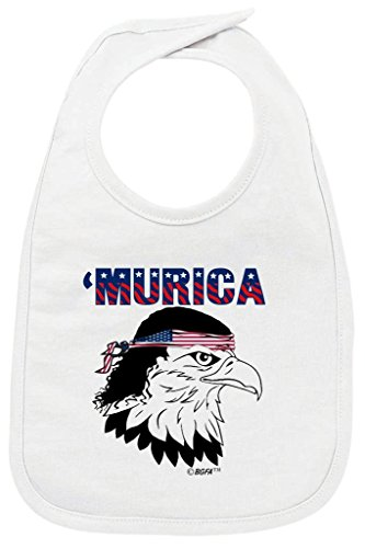 - Patriotic Baby Gift Murica Bald Eagle Cute USA Patriotic Baby Bib White