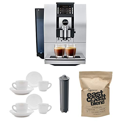 Jura 15093 Automatic Coffee Machine Z6, Aluminum Includes Jura Filter, Set of Espresso Cups and Whole Bean Coffee Bundle (Renewed)