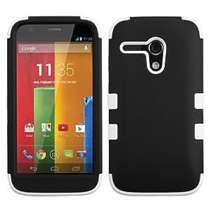 Black White Tuff Shield Hybrid Gel Case for Motorola Moto G + Keychain Tool