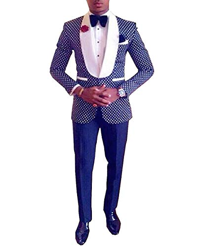 (Men's Two Pieces Suit Blazer Shawl Lapel Groommen Tuxedo for Wedding Polka Dots (Blazer+Pants) (40US/UK & 50EU,Royal)