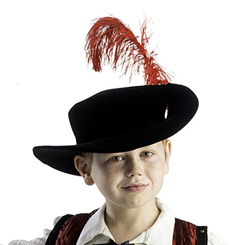 [Boys Musketeer Hat Red Feather By Dress America] (Musketeer Costume Hat)