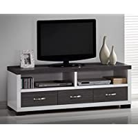 Wholesale Interiors Oxley Two-Tone Entertainment TV Cabinet with Three Drawers, 59, White/Dark Brown