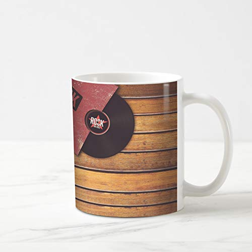 Ahawoso Coffee Tea Mug 11 Ounces Gramophone Party Player Vinyl Record On Wooden Rock Retro Sixties 70S Music 11Oz Ceramic Tea Cups Gift Great Boss Coworker Friend Present (Record Player 1960)