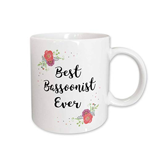3dRose InspirationzStore - Love Series - Floral Best Bassoonist Ever watercolor pink flowers bassoon player - 15oz Mug (mug_317268_2)