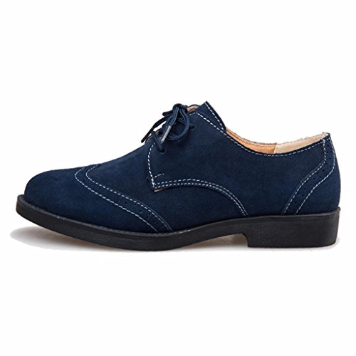 à en Cuir Chaussures Suede Marine Derbies Bleu Lacets Femme Moonwalker Hv4xHq
