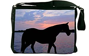 Rikki KnightTM Horse Silhouette on Sunset Lake Design Messenger Bag - Shoulder Bag - With Matching Neoprene Pencil Case