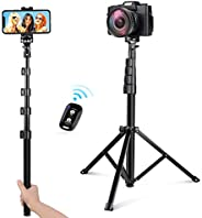 UBeesize 54-inch Selfie Stick Tripod, Detachable and Extendable Phone Tripod for Cell Phone, Compatible with i