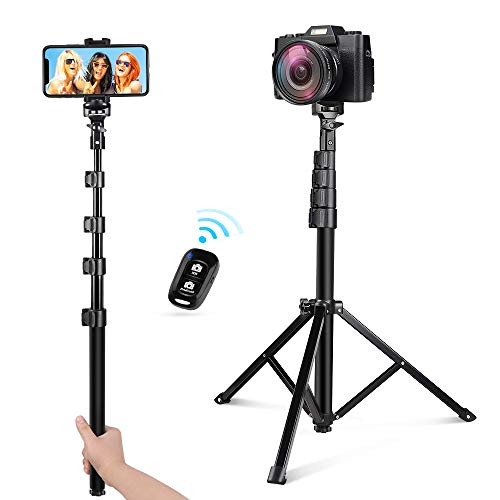 UBeesize 54-inch Selfie Stick Tripod, Detachable and Extendable Phone Tripod for Cell Phone, Compatible with iPhone and Android Phone, Includes Wireless Remote, Cell Phone Holder and Gopro Adapter