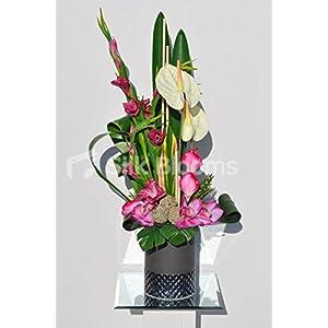 Exotic Artificial Pink Gladioli, Cymbidium Orchid and Anthurium Floral Table Arrangement 66