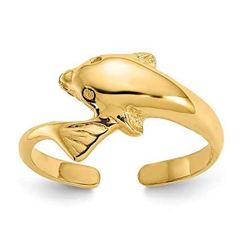 (14k Yellow Gold Dolphin Adjustable Cute Toe Ring Set Fine Jewelry Gifts For Women For Her)