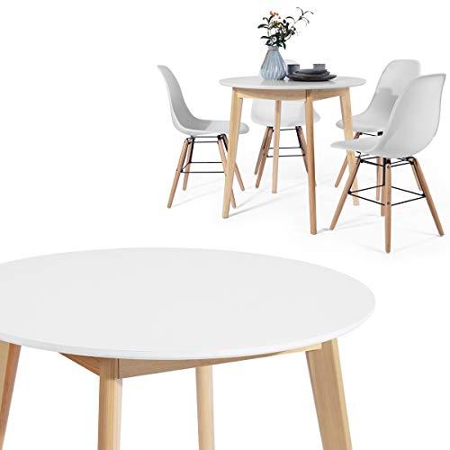 HOMYCASA Mesa Redonda / Mesa Cuadrada Moderna Mesa Comedor 80 cm Cocina Comedor Muebles para 4 Personas (Madera Blanca), Madera de diseno, redondo