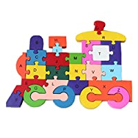 HIPGCC Wooden Jigsaw Puzzles Winding Dinosaur Toys for Preschool Letter & Numbers Puzzles Educational Toys for Toddlers/Kids/ Children/Boys/ Girls (3 4 5 Year Old and Up) ...