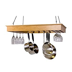 Corner Housewares SpaceMaster Ultra Modern Solid Bamboo Hanging Wine Glass and Pot Rack for Sink or Kitchen Island, Bamboo