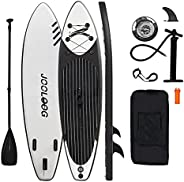 JOOLOOG Inflatable Stand Up Paddle Board 6 Inch Thick with Premium Sup Backpack, Non-Slip Deck, Bottom Fins, L