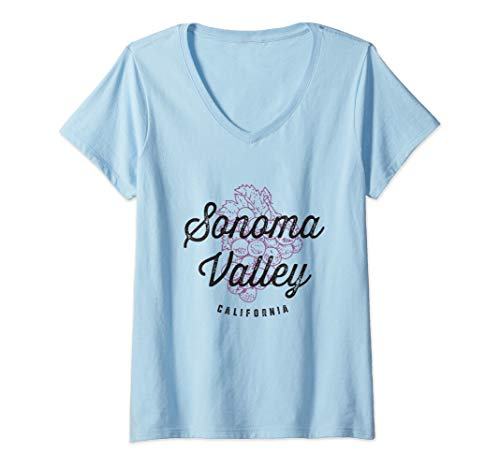 Womens Sonoma Valley California Wine Country Vintage V-Neck T-Shirt