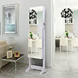 AOOU Jewelry Organizer Jewelry Cabinet, Full Screen Display View Larger Mirror, Lockable Wall Door Mounted, Full Length Mirror (White-3)