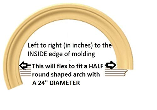 42 Diameter up to 56 Diameter 1-1//16 Thick x 3-7//16 Wide FLEXTRIM #97 Adams PRE Curved to fit Specific Half Round Arches Flexible Casing Molding