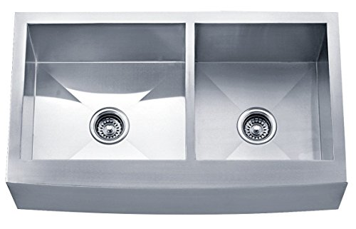 (Dakota Signature Series Double Bowl Apron Front Zero Radius 16g Stainless Steel Sink Package)