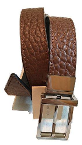 Burberry London SG Grain Webb30 30mm Reversible Buckle Flax Brown Leather Belt