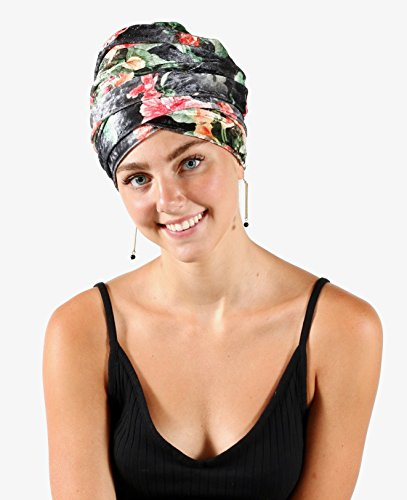 Pretty Simple Luxury Turban Floral Velvet Head Wrap Extra Long Scarf Tie, Gray by Pretty PS Simple (Image #3)