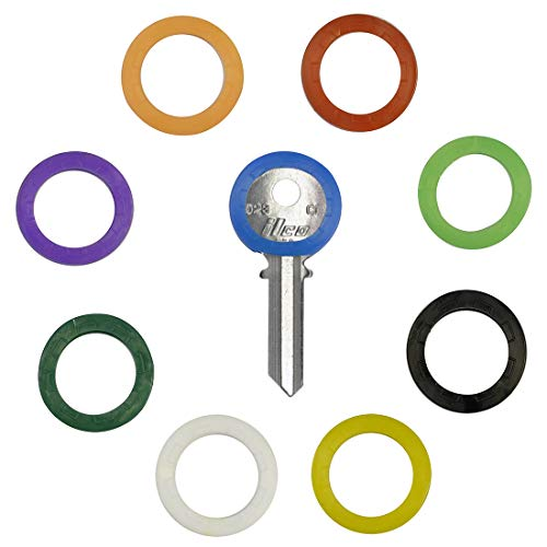 (Uniclife 36PCS Key Caps Covers Tags, Plastic Key Identifier Coding Rings in 9 Different Colors)