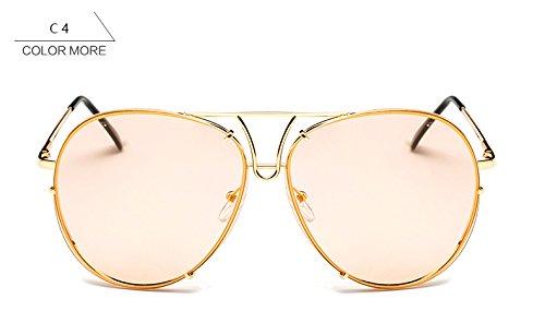 marrón mujeres sobredimensionado nuevo claro para piloto grande gafas azul gafas claro de bastidor Señoras reborde sol sin mujer plata de sol Oro ZHANGYUSEN aw1zq5n