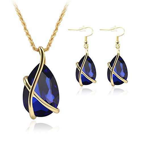 Crystals Teardrop Earrings Pendant 18K Yellow Gold Filled Two Piece Jewelry Sets For Mothers Day Gifts