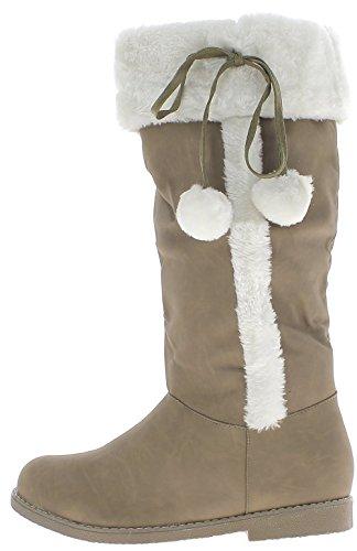 ChaussMoi Botas de Camello Tamaño Grande Mujer Tacón DE 2, 5cm con Pompones
