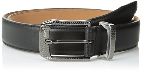 Nike Men's SG Laser Etched Buckle Belt, Black, 34 Black Leather Etched Buckle Belt